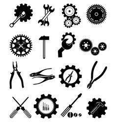 Settings tools icons set vector image vector image
