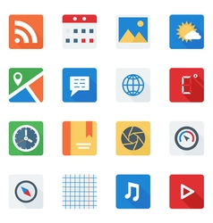 Basic Flat icon set for Web and Mobile Application vector image vector image