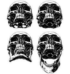 Black scary graphic human skull tattoo set vector image vector image