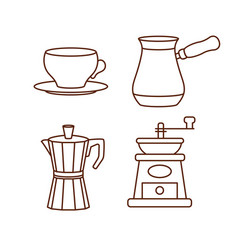 coffee making and drinking equipment icons vector image vector image