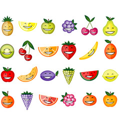 Funny fruit characters smiling for your design vector image vector image