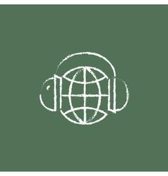 Globe in a headphones icon drawn chalk vector