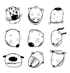Hand drawn Doodle Outline Cartoon Animal Heads vector image vector image