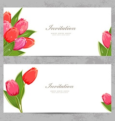 invitation cards with a tulips for your design vector image