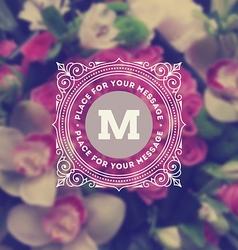 Monogram logo on flowers background vector image vector image