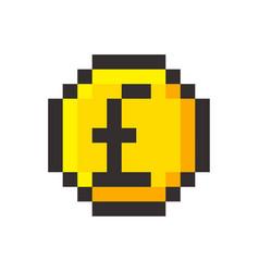 pixel art pound golden coin retro video game vector image vector image