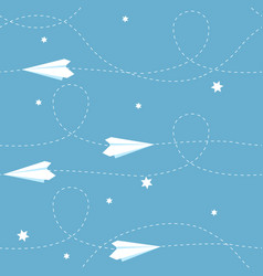 seamless paper airplane background vector image vector image