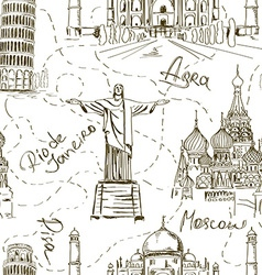 Seamless pattern of famous landmarks vector image vector image