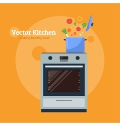 stove with a pan vector image vector image