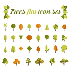 Tree icon set in a modern style flat vector image
