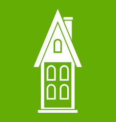 two storey house with attic icon green vector image vector image