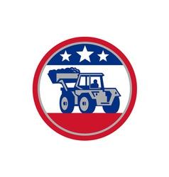 American mechanical digger excavator retro vector