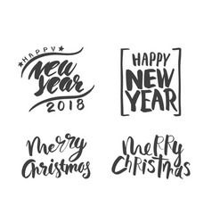 christmas and happy new year lettering vector image