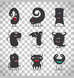 cute black monsters on transparent background vector image vector image