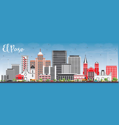 el paso skyline with gray buildings and blue sky vector image vector image