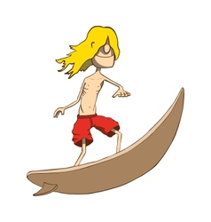 Funny skinny blonde surfer Hand drawn vector image vector image