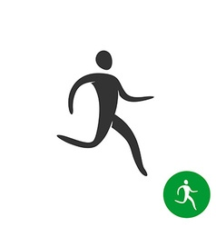 Running athlete man logo Black silhouette human vector image