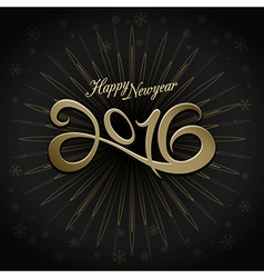 2016 happy new year greeting on black background vector image vector image