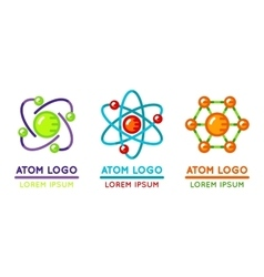 Atom logo set in flat style vector image vector image