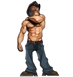 cartoon bodybuilder man with a naked torso in vector image