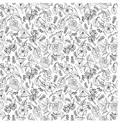 collection black and white flowers and plants in vector image