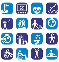 color fitness icons set vector image