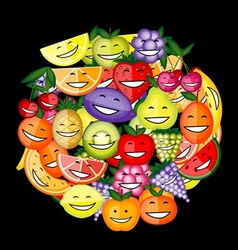 Funny fruit characters smiling together for your vector image vector image