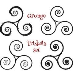 Grunge brush drawn triskels set vector image vector image