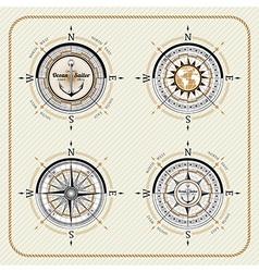 Nautical vintage compass set vector image vector image