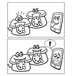 phones and smart phone comics vector image vector image