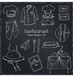 Restaurant doodle set vector image vector image