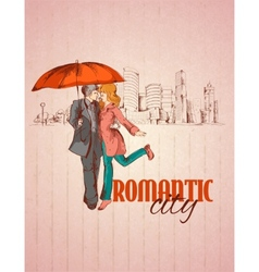 Romantic city poster vector image