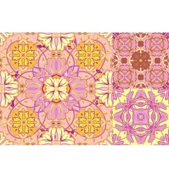Set with Beautiful seamless ornamental tile vector image