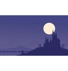 Silhouette of Halloween castle and bridge vector image vector image