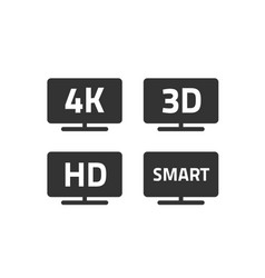 4k ultra hd tv and full hd television icons set vector image