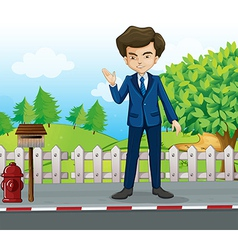 A businessman at the street standing near vector