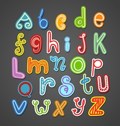 Abstract hand-drawn color doodle alphabet design vector