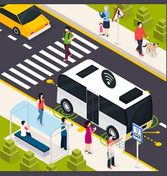 autonomous vehicle isometric composition vector image