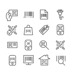 Bar and qr code scanning thin line icons vector