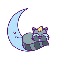 bashower cute raccoon sleeping on half moon vector image