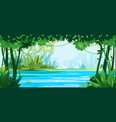 Big river around jungle plants vector
