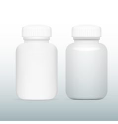 Blank white and glass medicine bottle vector