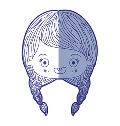 Blue shading silhouette of kawaii head of cute vector