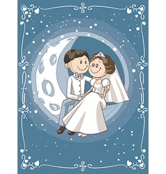 bride and groom sitting on moon cartoon vector image