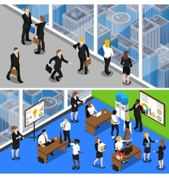 Business People 2 Isometric Banners vector