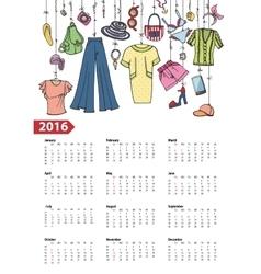 Calendar 2016 yearSummer fashion Colored vector