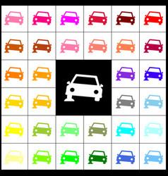 Car parking sign felt-pen 33 colorful vector