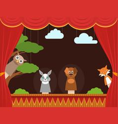 cartoon children puppet theater background card vector image