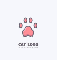 cat paw logo kitten footprint mark vector image