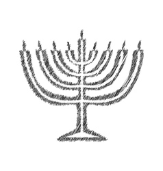 Chanukah candle black silhouette Sketch Hand vector image